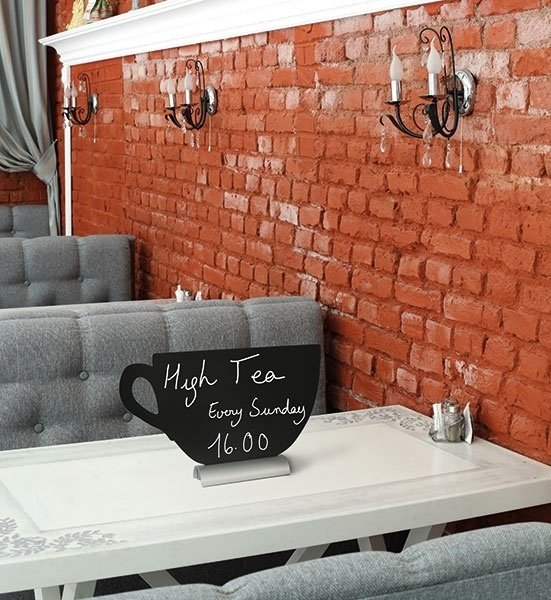 6x tafel-krijtbordje op aluminium voet Kopje (FBTA-CUP)