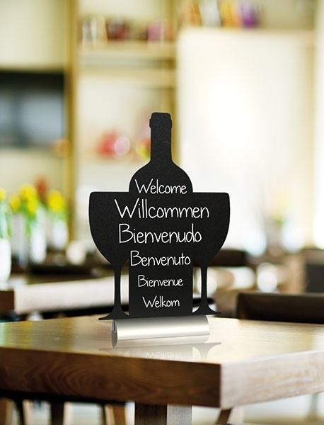 6x tafel-krijtbordje op aluminium voet Wijn (FBTA-WINE)