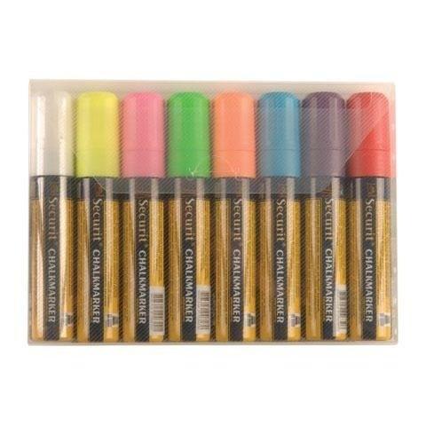 Etui met 8 stuks dikke krijtstiften in div. kleuren (SMA720-V8)