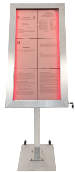 Menukast met gekleurde LED verlichting 6x A4 incl. staander (MCS-6A4-LSS + MCS-BA-120-G1+G2))