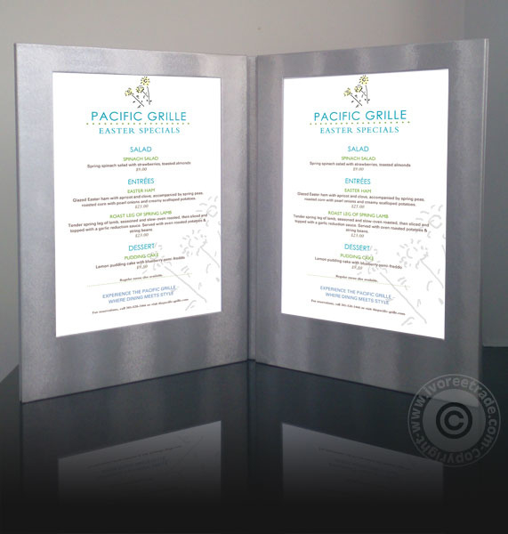 Zilveren LED verlichte menukaart 2x A4 (MC-LDA4-SL)