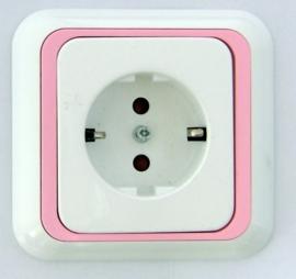 Wandstopcontact met roze rand (compleet)
