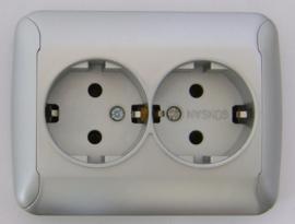Dubbel geaard stopcontact/zilver (compleet)