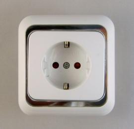 Wandstopcontact  randaarde /zilver   (compleet)