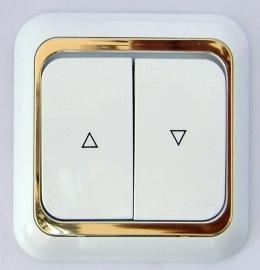 Jalozie inbouw schakelaar/wit/goud x   (  compleet )