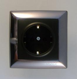 Wandstopcontact/donkerzilver  (compleet)