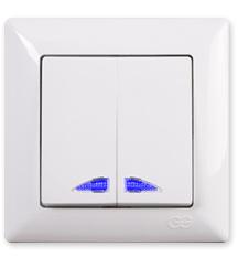 Dubbel    schakelaar ( Kruis) Licht op knop / inbouw