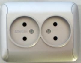 Dubbel stopcontact  / zilver   (compleet)