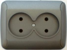 Dubbel stoptcontact    (compleet)