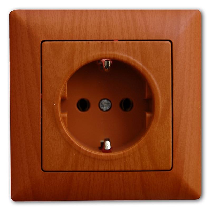 Stopcontact  randaarde  in  eik (compleet)