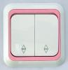 Dubbel inbouw wisselschakelaar wit/roze