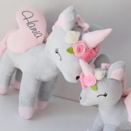 Unicorn Grijs Roze bloemen - Medium formaat