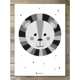 Monochrome Leeuw - Poster