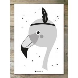 Monochrome Flamingo - Poster