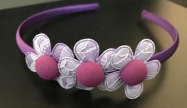 Diadeem paars met lichtpaarse bloemen - Kids- Ware