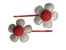 Schuifspeldjes - Rood met grijze  bloem - Kidsware