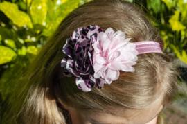 Elastische haarband - Lichtroze met dubbele bloem- Kids-Ware