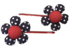 Schuifspeldjes - Rood met donkerblauwe  Bloem - Kidsware