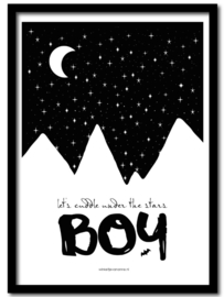 Poster A4 Cuddle under the stars boy