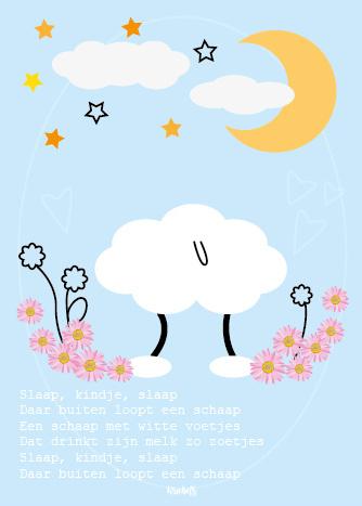 Poster babykamer, slaap kindje slaap