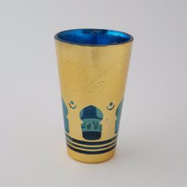 Marokkaans theeglas | Mina - blauw/goud