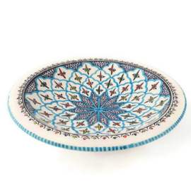 Platte schaal - 30 cm | turquoise blue fine