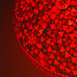 Plafonnière L - Glasmozaiek | rood fine