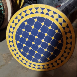 Mozaiek tafelblad - 50 cm | blauw/geel