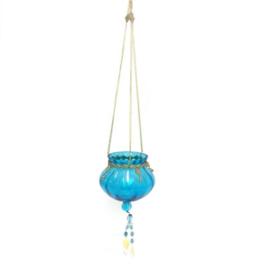 Theelichthouder - hangend | turquoise