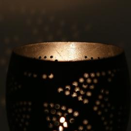 Waxinehouder filigrain | zwart/zilver