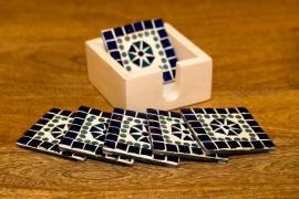 Onderzetters glasmozaiek - blauw