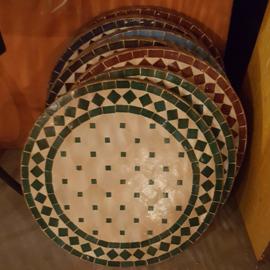 Mozaiek tafelblad - 50 cm | wit/donkergroen