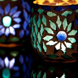 Waxinehouder - blauw | glasmozaiek