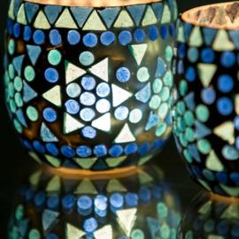 Waxinehouder - blauw fine | glasmozaiek