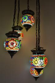 Hanglamp - 5 bollen | Multicolor Mozaiek