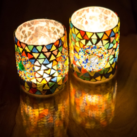 Waxinehouder - cilinder L glasmozaiek multicolor