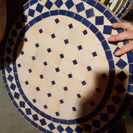 Mozaiek tafelblad - 50 cm | naturel/blauw