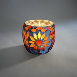 Waxinehouder - rood | glasmozaiek
