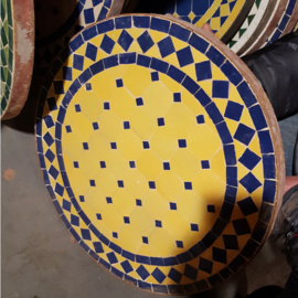 Mozaiek tafelblad - 50 cm | geel/blauw