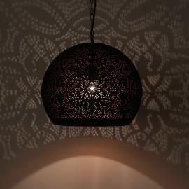 Hanglamp filigrain - bol   zwart/koper