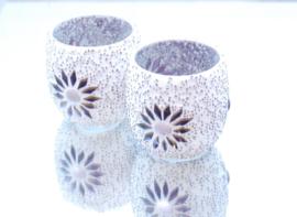 Waxinehouder - paars | glas & kralen