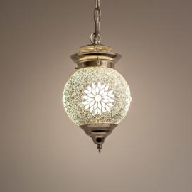 Hanglamp S - Glasmozaiek & kralen | wit