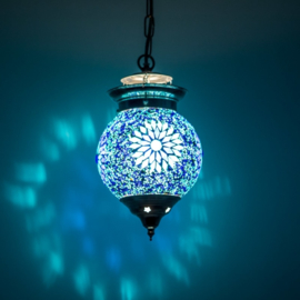 Hanglamp S - Glasmozaiek & kralen | blauw