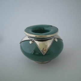 Marokkaanse asbak Sahara L - aquagroen/zilver
