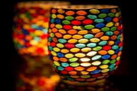 Waxinehouder - multicolor seeds    glasmozaiek