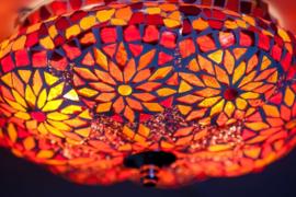 Plafonnière S pumpkin - rood - glas & kralen