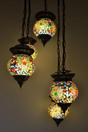 Hanglamp - 5 bollen | Multicolor Mozaiek & Kralenrondje
