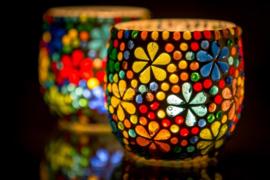 Waxinehouder - multicolor | flower power