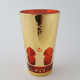 Marokkaans theeglas   Mina - rood/goud