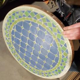 Mozaiek tafelblad - 50 cm | blauw/groen